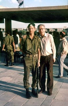 Holocaust survivor Kalman Perk with his son Yonatan, a Major in the IDF who was the doctor for the Navy Seals and today is a practicing physician