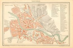 1896 Original Antique City Map of Oradea Großwardein or