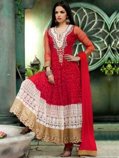 Red Net Anarkali Suit With Embroidery And Handwork www.saree.com