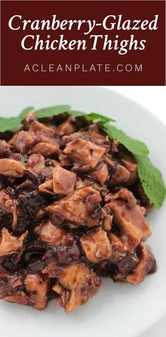 These Simple Cranberry-Glazed Chicken Thighs look and taste fancier than they are. Yum! http://www.acleanplate.com/recipe/cranberry-glazed-chicken-thighs/
