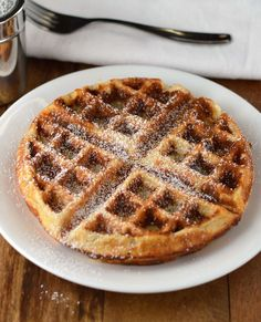 Apple-Cinnamon Ricotta Waffles.  Soft ricotta cheese replaces the oil and butter and makes a light, fluffy and crispy waffle!