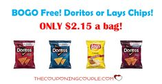 You can Buy One, Get One Free on Doritos or Lays right now and get the chips for only $2.15 a bag! Stock up now for the big weekend!  Click the link below to get all of the details ► http://www.thecouponingcouple.com/doritos-or-lays/ #Coupons #Couponing #CouponCommunity  Visit us at http://www.thecouponingcouple.com for more great posts!