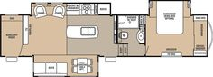 Cedar Creek Fifth Wheel by Forest River. This is the floor plan we want.  It has a nice bedroom, kitchen, living space and a separate office area for working.
