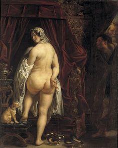 Jacques Jordaens (1593-1678) Candaule faisant épier sa femme par Gygès, Etre trop amoureux de son épouse peut conduire à un destin funeste. Le roi Candaule en fit les frais,. Mais le merveilleux arrière-train de la reine de Lydie, ainsi peint par Jordaens, a une postérité extraordinaire.