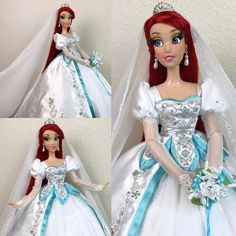 """""""Today for I wanted to show you all my partner's creation. Here is his Ooak Wedding Ariel doll. I know she is not in her mermaid form here but hey, once a mermaid always a mermaid… 🐚❤️🐠 Little Mermaid Doll, Ariel Mermaid, Mermaid Dolls, Disney Princess Dolls, Disney Dolls, Ooak Dolls, Barbie Dolls, Disney Pixar, Disney Movie Collection"""