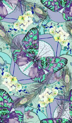 The Matthew Williamson blue Heritage Butterfly print from AW13. Click to shop latest prints.