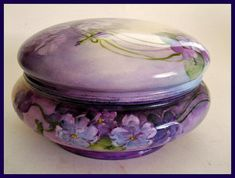 Limoges Porcelain Boxes | Antique Limoges Porcelain Dresser/Vanity Box -Jar Hand Painted Purple ...