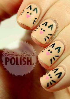 7 Cute Nail Art Ideas For Teens - diy Thought - Nails Easy cat nail art. 7 cute nail art ideas for teens. Fancy Nails, Love Nails, Pretty Nails, Cat Nail Art, Cat Nails, Tiger Nails, Nail Polish Designs, Cute Nail Designs, Pretty Designs