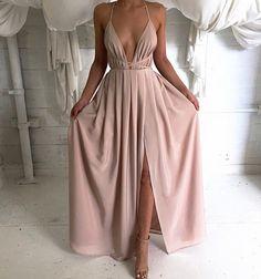 Deep V Neck Long Chiffon Prom Dress Backless Evening Dress Sexy Open Back Spaghetti Strap Party Dress