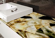 Benchtops made from semi-precious stones? So wrong it might just be right! - The Interiors Addict Kitchen Colors, Kitchen Design, Stone Benchtop, Kitchen Benches, Engineered Stone, New Edition, Colours, Gemstones, Marble