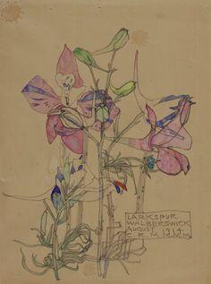 """""""Larkspur"""" August 1914  (watercolour) CRE MACKINTOSH, Charles Rennie; (Scottish; 1868-1928)"""