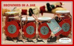 Mini brownies in a jar