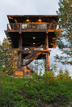 Lookout tower House Plans Fresh Whitefish Family Lookout tower Rustic Garage and Shed Beautiful Tree Houses, Cool Tree Houses, Tiny House Cabin, Log Cabin Homes, Cabin Design, Tiny House Design, Architecture Design, Creative Architecture, Lookout Tower