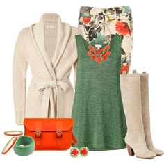 Orange and Green, created by striplingmom-1 on Polyvore