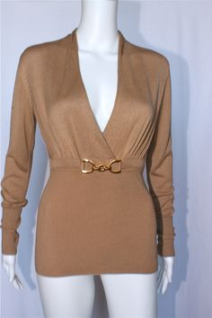 Cache 2012 Iconic Gold Chain Detail Camel Tan Sweater Top Long Sleeve | eBay