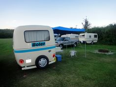 Electric blue striped Boler | Prairie Egg Gathering, Marwayne, AB, July 2012