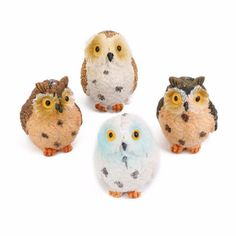4x Miniature Cute Owls Fairy Garden Yard Resin Figurine Decor DIY Bonsai  NEW