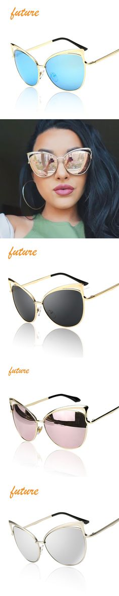 New Fashion Cat Eye Sunglasses Women Brand Designer Twin-Beam Mirror Sun Glasses Vintage Female lentes de sol mujer Sunglasses
