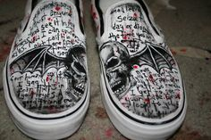 The Avenged Sevenfold Deathbat vans! Coolest Shoes Ever, Jimmy The Rev Sullivan, Avenged Sevenfold, Love My Kids, Band Merch, Shoe Art, Emo Outfits, Custom Shoes, Women In History