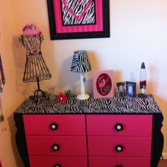 Painted and mod podged dresser Kids Room, Decor Crafts, Furniture Makeover, Frame Crafts, Remodel Bedroom, Cute Room Ideas, Zebra Print Bedroom, Girl Dresser, Home Decor Furniture