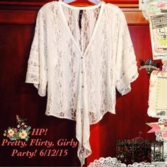 SALE⚜HP!Festival Top✌️ Lovely Jessica Simpson oversized top.  Airy lace with tie front! Size XS but is oversized enough to fit an oversized S up to a reg fit M-L!  Extra button included.☀️                   Host Pick! 6/12/15 Pretty, Flirty, Girly Party! Jessica Simpson Tops Blouses