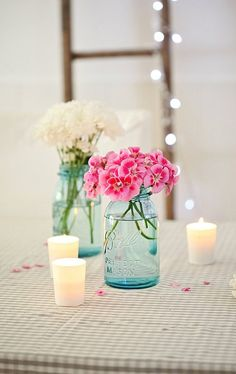 pink and white flowers + candles = awesome :)