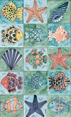 Il rivestimento bagno tra piastrelle e gres porcellanato Fish and starfish tiles: Tiles Reptile & ceramics Ceramic Fish, Ceramic Art, Painted Rocks, Hand Painted, Decoupage Paper, Fish Art, Ceramic Painting, Starfish, Reptiles
