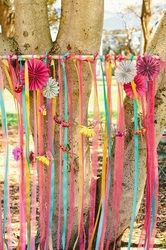 Wedding Trends 2014: Ceremony ribbon backdrop Make it in Dark red, Aqua and Burlap