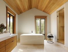 shower/steam vent at the top of the shower door.  Mountain Wood Home By Walker Warner Architects
