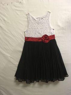 Emily West Girls Size 7 Dress Black/WhiteHoliday Dressy Pleats Dressy Chiffon  #EmilyWest #DressyHoliday