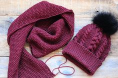 Cherry color. Burgundy hat and scarf