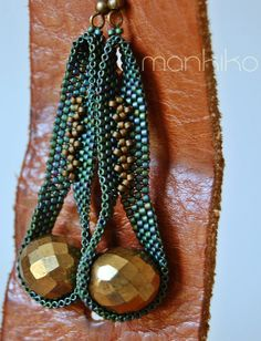 handmade peyote stich beaded earrings by mankiko on Etsy