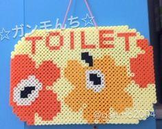 Inspired Unikko pattern toilet sign perler beads