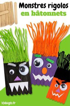Pour Halloween fabriquez des monstres rigolos avec les enfants en utilisant des bâtonnets de glace en bois, de la laine, de la peinture et quelques accessoires. Ce bricolage facile permettra aux enfants de créer des personnages en laissant libre cours à leur imagination.