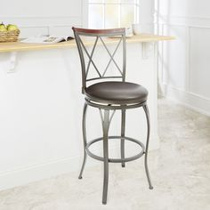 29-inch Diamond Back Swivel Barstool with Curved Legs (Espresso, 29 in), Brown (Steel)