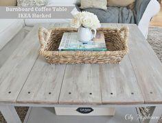 Barn boards on top of an IKEA coffee table