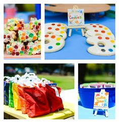 """Photo 1 of Art / Birthday """"Rainbow Art Party"""" Rainbow Birthday Party, 6th Birthday Parties, Birthday Fun, Birthday Ideas, Artist Birthday, Birthday Painting, Art Themed Party, Art Party, Party Planning"""