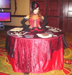 Vampire style strolling table diva by J & D Entertainment Houston, Houston living table, human table