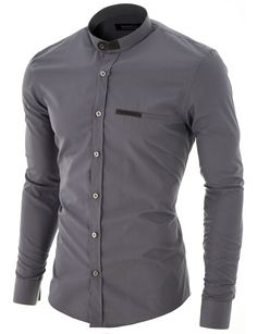 eb5091bdb62 MODERNO Mens Slim Fit Mao Collar Dress Shirt (MOD1427LS) Gray. FREE  worldwide shipping
