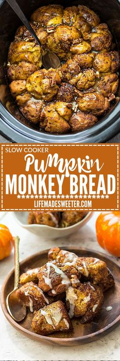 Slow Cooker Pumpkin Monkey Bread makes the perfect easy breakfast or brunch. Best of all, it's so easy to make in your crock-pot with refrigerated cinnamon roll dough and it's full of cozy fall spices and a pumpkin cheesecake filling. So delicious for the Pumpkin Recipes, Fall Recipes, Sweet Recipes, Holiday Recipes, Pumpkin Monkey Bread Recipe, Crock Pot Desserts, Crock Pot Cooking, Slow Cooker Recipes, Crockpot Recipes