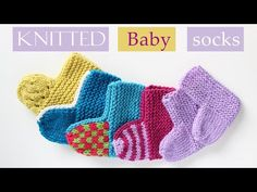 Video tutorial and written instructions for baby socks knitted flat on two straight needles. Easy to knit and customize to create different types of socks. Baby Booties Knitting Pattern, Baby Boy Knitting Patterns, Knitting Socks, Free Knitting, Baby Slippers, Baby Socks, Knitted Slippers, Knitted Hats, Crochet Baby
