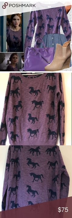 SOLD ASO Teen Wolf Mossimo Unicorn Sweater ASO Teen Wolf Lydia Martin, her mossimo sweater, its a size M Junior sizing. Great Condition like new. Mossimo Supply Co. Sweaters Crew & Scoop Necks
