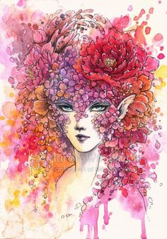 """Floral Masquerade by Mitzi Sato-Wiuff * the sketch for this is on my board """"Artist Mitzi Sato-Wiuff Coloring"""""""