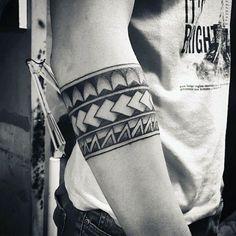 Tribal Black Ink Negative Space Male Armband Tattoos