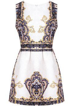 Blue Sleeveless Vintage Floral Jacquard Dress pictures