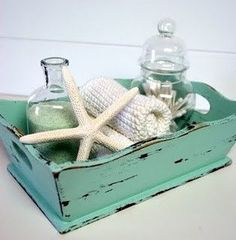 Great for a beach house guest room or bathroom decor. Wood tray starfish shells in a&; Great for a beach house guest room or bathroom decor. Wood tray starfish shells in a&; Mermaid Bathroom Decor, Beach Theme Bathroom, Nautical Bathrooms, Beach Bathrooms, Chic Bathrooms, Beachy Bathroom Decor, Small Bathroom, Seafoam Bathroom, Bathroom Tray