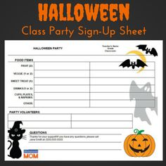 halloween classroom party sign up sheet