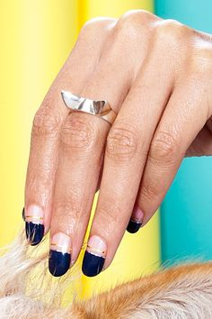 21 Pics That Show Why Rescue Dogs Rule #refinery29  http://www.refinery29.com/cute-dog-pictures#slide9  Called Mix Tape, this design takes its cues from one of spring's biggest nail trends, the negative-space manicure. To start, grab a navy polish like Zoya's Sailor and paint the top half of the nail only. If your line is a little messy, Kurita says to use a dry, angled brush dipped in polish remover to get rid of any streaks or wobbly parts.  Apply a second coat and let dry. Lightly place…