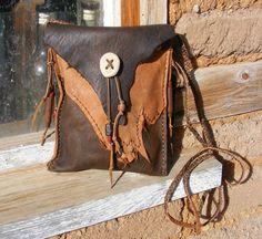 CALAMITY JANE Deerskin Leather bag Purse with old shell casings, Elk Antler, cross shoulder