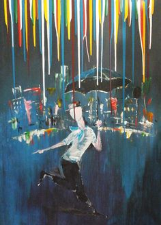 Colour Rain - www. Rain Painting, Images And Words, Contemporary Paintings, Impressionism, Amazing Art, Abstract Art, Colour, Portrait, Drawings